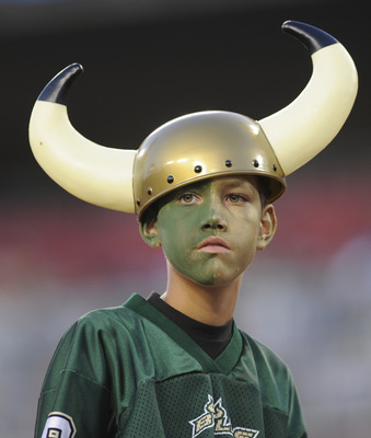 TAMPA, FL - OCTOBER 2: A young fan of the University of South Florida Bulls watches play against the Pittsburgh Panthers at Raymond James Stadium on October 2, 2008 in Tampa, Florida.  (Photo by Al Messerschmidt/Getty Images)