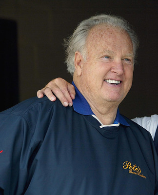 LOUISVILLE, KY - APRIL 30:  Former Heisman trophy winner Paul Hornung talks with former Kentucky Derby-winning trainer Nick Zito during morning workouts for the 129th Kentucky Derby on April 30, 2003 at Churchill Downs in Louisville, Kentucky.  (Photo by