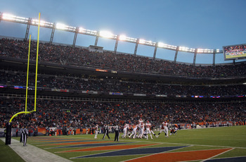 DENVER - NOVEMBER 14:  General view of the stadium as the Kansas City Chiefs defend against an extra point attempt by the Denver Bronco at INVESCO Field at Mile High on November 14, 2010 in Denver, Colorado. The Broncos defeated the Cheifs 49-29.  (Photo