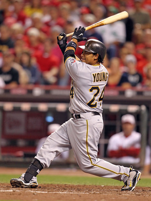 CINCINNATI - SEPTEMBER 11:  Delwyn Young #24 of the Pittsburg Pirates swings at a pitch during the game against the Cincinnati Reds at Great American Ball Park on September 11, 2010 in Cincinnati, Ohio.  (Photo by Andy Lyons/Getty Images)