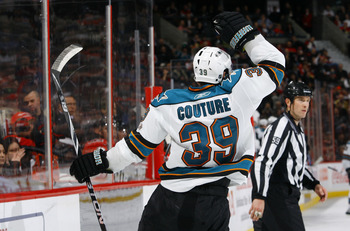 OTTAWA, ON - DECEMBER 02:  Logan Couture #39 of the San Jose Sharks celebrates a goal against the Ottawa Senators in a game at Scotiabank Place on December 2, 2010 in Ottawa, Ontario, Canada.  (Photo by Phillip MacCallum/Getty Images)