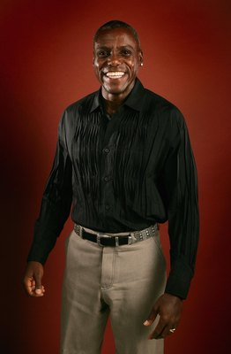 HOLLYWOOD - NOVEMBER 02:  Athlete Carl Lewis poses in the portrait studio at the 2006 AFI FEST presented by Audi at the Arclight Hollywood November 2, 2006 in Hollywood, California.  (Photo by Mark Mainz/Getty Images for AFI)