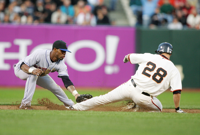 SAN FRANCISCO- APRIL 25:  Jose Reyes #7 of the New York Mets forces out Lance Niekro #28 of the San Francisco Giants at AT&T Park on April 25, 2006 in San Francisco, California. The Mets defeated the Giants 4-1.  (Photo by Jed Jacobsohn/Getty Images)