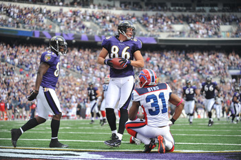 BALTIMORE, MD - OCTOBER 24:  Todd Heap #86 of the Baltimore Ravens scores a touchdown against the Buffalo Bills at M&T Bank Stadium on October 24, 2010 in Baltimore, Maryland. The Bills lead the Ravens at the half 24-20. (Photo by Larry French/Getty Image