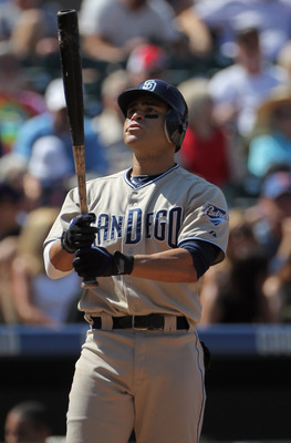 DENVER - SEPTEMBER 15:  Jerry Hairston Jr #15 of the San Diego Padres takes an at bat against the Colorado Rockies at Coors Field on September 15, 2010 in Denver, Colorado. The Rockies defeated the Padres 9-6.  (Photo by Doug Pensinger/Getty Images)