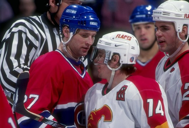 31 Dec, 1997:  Shayne Corson of the Montreal Canadiens in action during a game with Theo Fleury of the Calgary Flames at the Canadien Airlines Saddledome in Calgary Canada. Mandatory Credit: Ian Tomlinson  /Allsport