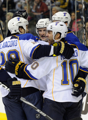 NASHVILLE, TN - OCTOBER 14:  Defenseman Carlo Colaiacovo #28 and center Andy McDonald #10 of the St. Louis Blues celebrate with teammates after a Blues goal against the Nashville Predators on October 14, 2010 in Nashville, Tennessee.  (Photo by Frederick