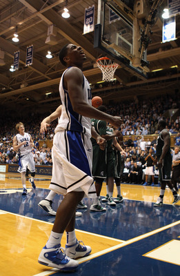 DURHAM, NC - DECEMBER 01:  Kyrie Irving #1 of the Duke Blue Devils during their game against the Michigan State Spartans at Cameron Indoor Stadium on December 1, 2010 in Durham, North Carolina.  (Photo by Streeter Lecka/Getty Images)