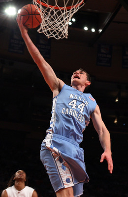 NEW YORK - NOVEMBER 19:  Tyler Zeller #44 of the North Carolina Tar Heels goes up for a shot against the Ohio State Buckeyes during their semifinal game of the 2K Sports Classic on  November 19, 2009 at Madison Square Garden in New York City.  (Photo by J