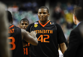 GREENSBORO, NC - MARCH 11:  Reggie Johnson #42 of the University of Miami Hurricanes reacts against the Wake Forest Demon Deacons in their first round game in the 2010 ACC Men's Basketball Tournament at the Greensboro Coliseum on March 11, 2010 in Greensb