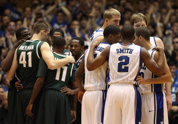 DURHAM, NC - DECEMBER 01:  The Michigan State Spartans take on the Duke Blue at Cameron Indoor Stadium on December 1, 2010 in Durham, North Carolina.  (Photo by Streeter Lecka/Getty Images)