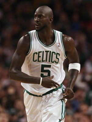BOSTON - DECEMBER 01:  Kevin Garnett #5 of the Boston Celtics reacts after his basket in fourth quarter against the Portland Trailblazers on December 1, 2010 at the TD Garden in Boston, Massachusetts. The Celtics defeated the Trailblazers 99-95. NOTE TO U