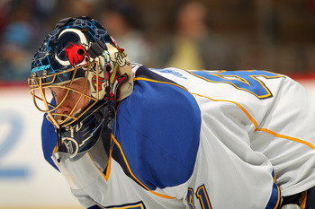 DENVER - NOVEMBER 15:  Goalie Jaroslav Halak #41 of the St. Louis Blues looks on as he faces the Colorado Avalanche at the Pepsi Center on November 15, 2010 in Denver, Colorado. The Avalanche defeated the Blues 6-3.  (Photo by Doug Pensinger/Getty Images)