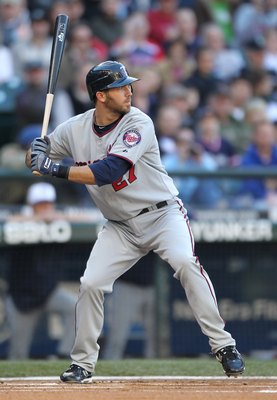 SEATTLE - MAY 31:  J.J. Hardy #27 of the Minnesota Twins bats against the Seattle Mariners at Safeco Field on May 31, 2010 in Seattle, Washington. (Photo by Otto Greule Jr/Getty Images)