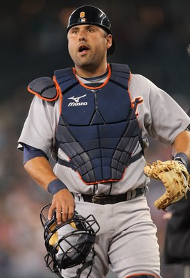 SEATTLE - MAY 26:  Catcher Gerald Laird #8 of the Detroit Tigers looks on against the Seattle Mariners at Safeco Field on May 26, 2010 in Seattle, Washington. (Photo by Otto Greule Jr/Getty Images)