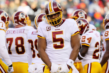 EAST RUTHERFORD, NJ - DECEMBER 05:  Donovan McNabb #5 of the Washington Redskins looks on against the New York Giants on December 5, 2010 at the New Meadowlands Stadium in East Rutherford, New Jersey.  (Photo by Jim McIsaac/Getty Images)