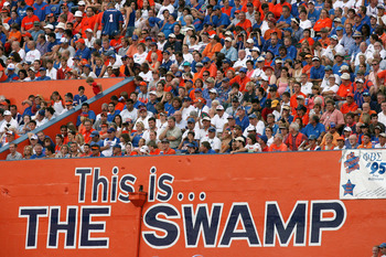 GAINESVILLE, FL - SEPTEMBER 2:  University of Florida Gators fans watch the action during the game against the Southern Miss Golden Eagles at Ben Hill Griffin Stadium on September 2, 2006 in Gainesville, Florida.  The Gators defeated the Eagles 34-7.  (Ph