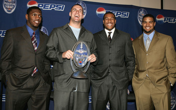 JACKSONVILLE, FL-  FEBRUARY 3:  (L-R)  Four of the five finalists for Pepsi NFL Rookie of the Year Jonathan Vilma, Ben Roethlisberger, Michael Clayton and Michael Boulware pose during the Pepsi NFL Rookie of the Year award news conference before Super Bow
