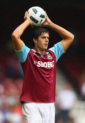LONDON, ENGLAND - AUGUST 07:  James Tomkins of West Ham in action during the pre-season friendly match between West Ham United and Deportivo La Coruna at Upton Park on August 7, 2010 in London, England.  (Photo by Richard Heathcote/Getty Images)