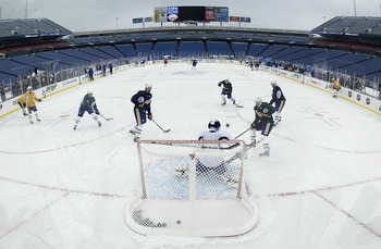ORCHARD PARK , NY - DECEMBER 31:  The Buffalo Sabres practice at Ralph Wilson Stadium on December 31, 2007 in Orchard Park, New York. The stadium's football field has been converted into an ice rink for the 2008 NHL Winter Classic on January 1, 2008.  (Ph