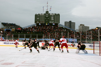 CHICAGO - JANUARY 01:  The Chicago Blackhawks play against the Detroit Red Wings during the NHL Winter Classic at Wrigley Field on January 1, 2009 in Chicago, Illinois.  (Photo by Jonathan Daniel/Getty Images)
