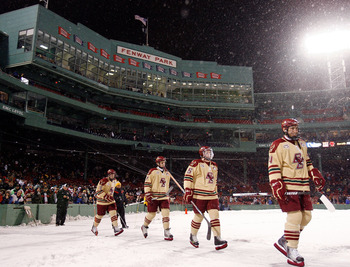 BOSTON - JANUARY 08:  The Boston College Eagles   head out on to the ice before the game against the Boston University Terriers on January 8, 2010 during the Sun Life Frozen Fenway Hockey Game at the Fenway Park in Boston, Massachusetts.  (Photo by Elsa/G