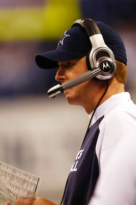 INDIANAPOLIS, IN - DECEMBER 05: Jason Garrett of the Dallas Cowboys looks on against the Indianapolis Colts at Lucas Oil Stadium on December 5, 2010 in Indianapolis, Indiana. The Cowboys defeated the Colts 38-35 in overtime.  (Photo by Scott Boehm/Getty I