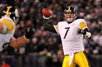 BALTIMORE, MD - DECEMBER 05:  Quarterback Ben Roethlisberger #7 of the Pittsburgh Steelers throws a pass against the Baltimore Ravens during the third quarter of the game at M&T Bank Stadium on December 5, 2010 in Baltimore, Maryland.  (Photo by Larry Fre