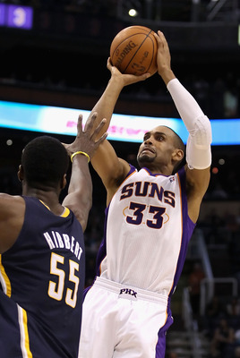 PHOENIX - DECEMBER 03:  Grant Hill #33 of the Phoenix Suns puts up a shot against the Indiana Pacers during the NBA game at US Airways Center on December 3, 2010 in Phoenix, Arizona.  The Suns defeated the Pacers 105-97.  NOTE TO USER: User expressly ackn