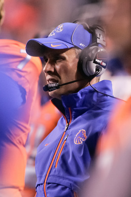 BOISE, ID - NOVEMBER 19:  Head Coach Chris Petersen of the Boise State Broncos looks on against the Fresno State Bulldogs at Bronco Stadium on November 19, 2010 in Boise, Idaho.  (Photo by Otto Kitsinger III/Getty Images)