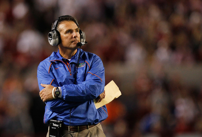 TUSCALOOSA, AL - OCTOBER 02:  Head coach Urban Meyer of the Florida Gators against the Alabama Crimson Tide at Bryant-Denny Stadium on October 2, 2010 in Tuscaloosa, Alabama.  (Photo by Kevin C. Cox/Getty Images)