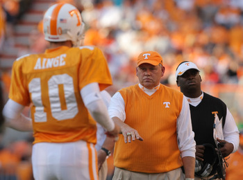 KNOXVILLE, TN - NOVEMBER 03:  Head Coach Phillip Fulmer  of the Tennessee Volunteers celebrates a touchdown with quarterback Erik Ainge #10 over the Louisiana Lafayette Cajuns during the second quarter at Neyland Stadium on November 3, 2007 in Knoxville,