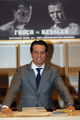 HERNING, DENMARK - APRIL 23:  Promoter Kalle Sauerland poses during the weigh in for the Super Six fight between Mikkel Kessler and Carl Froch at the Messecenter Arena on April 23, 2010 in Herning, Denmark.  (Photo by John Gichigi/Getty Images)