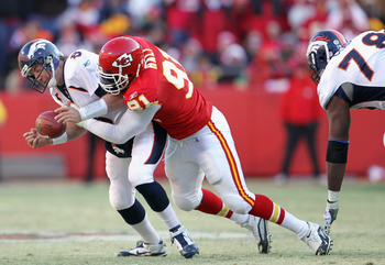 KANSAS CITY, MO - DECEMBER 05:  Tamba Hali #91 of the Kansas City Chiefs sacks quarterback Kyle Orton #8 of the Denver Broncos during the game on December 5, 2010 at Arrowhead Stadium in Kansas City, Missouri.  (Photo by Jamie Squire/Getty Images)