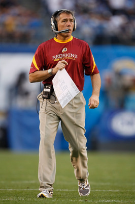 SAN DIEGO - JANUARY 03:  Washington Redskins head coach Jim Zorn looks on from the sideline against the San Diego Chargers at Qualcomm Stadium on January 3, 2010 in San Diego, California. The Chargers defeated the Redskins 23-20.  (Photo by Jeff Gross/Get