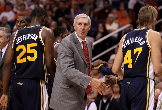 PHOENIX - OCTOBER 12:  Head coach Jerry Sloan of the Utah Jazz talks with his team during the preseason NBA game against the Phoenix Suns at US Airways Center on October 12, 2010 in Phoenix, Arizona. NOTE TO USER: User expressly acknowledges and agrees th