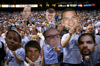 SALT LAKE CITY - MAY 09:  Fans hold up cut out head shots of the Utah Jazz players and one of Los Angeles Laker fan actor Jack Nickolson in Game Three of the Western Conference Semifinals during the 2008 NBA Playoffs on May 9, 2008 at Energy Solutions Are