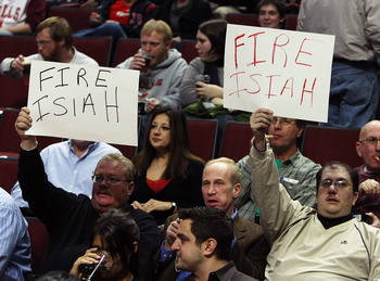 CHICAGO - JANUARY 08: Fans hold up signs reading 'Fire Isiah' before a game between the Chicago Bulls and the New York Knicks on January 8, 2008 at the United Center in Chicago, Illinois. NOTE TO USER: User expressly acknowledges and agreees that, by down