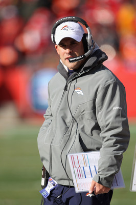 KANSAS CITY, MO - DECEMBER 05:  Head coach Josh McDaniels of the Denver Broncos looks on from the sidelines during the game against the Kansas City Chiefs on December 5, 2010 at Arrowhead Stadium in Kansas City, Missouri.  (Photo by Jamie Squire/Getty Ima