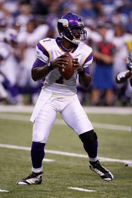 INDIANAPOLIS, IN - AUGUST 14: Quarterback Tavaris Jackson #7 of the Minnesota Vikings drops back to pass the football against the Indianapolis Colts at Lucas Oil Stadium on August 14, 2009 in Indianapolis, Indiana. (Photo by Scott Boehm/Getty Images)