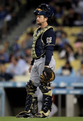 LOS ANGELES, CA - MAY 06:  Catcher Gregg Zaun #9 of the Milwaukee Brewers looks on against the Los Angeles Dodgers at Dodger Stadium on May 6, 2010 in Los Angeles, California.  (Photo by Jeff Gross/Getty Images)