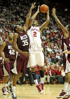 BLOOMINGTON, IN - NOVEMBER 23:  Christian Watford #2 of the Indiana Hoosiers shoots the ball while defended by Samuel Chasten #35 of the North Carolina Central Eagles at Assembly Hall on November 23, 2010 in Bloomington, Indiana.  Indiana won 72-56.  (Pho