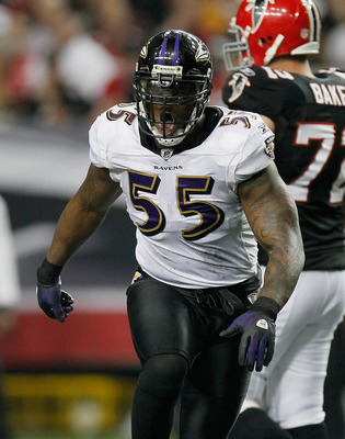ATLANTA - NOVEMBER 11:  Terrell Suggs #55 of the Baltimore Ravens against the Atlanta Falcons at Georgia Dome on November 11, 2010 in Atlanta, Georgia.  (Photo by Kevin C. Cox/Getty Images)