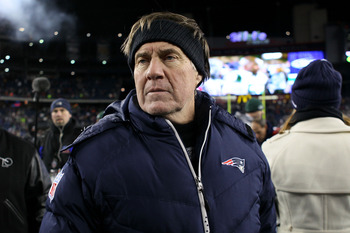 FOXBORO, MA - DECEMBER 06:  Head coach Bill Belichick of the New England Patriots looks on after the Patriots won 45-3 against the New York Jets at Gillette Stadium on December 6, 2010 in Foxboro, Massachusetts.  (Photo by Elsa/Getty Images)
