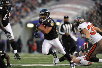 BALTIMORE, MD - NOVEMBER 28:  Ray Rice #27 of the Baltimore Ravens runs the ball against the Tampa Bay Buccaneers at M&amp;T Bank Stadium on November 28, 2010 in Baltimore, Maryland. The Ravens lead the Buccaneers at the half 17-3. (Photo by Larry French/Gett