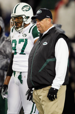 FOXBORO, MA - DECEMBER 06:  Head coach Rex Ryan of the New York Jets looks on during warm ups against the New England Patriots at Gillette Stadium on December 6, 2010 in Foxboro, Massachusetts.  (Photo by Jim Rogash/Getty Images)