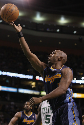 BOSTON, MA - DECEMBER 08:  Chauncey Billups #1 of the Denver Nuggets heads for the basket in the second half against the Boston Celtics on December 8, 2010 at the TD Garden in Boston, Massachusetts. The Celtics defeated the Nuggets 105-89. NOTE TO USER: U