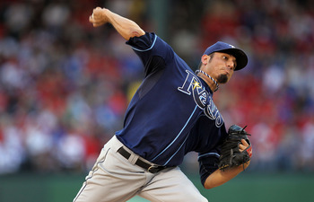 ARLINGTON, TX - OCTOBER 09:  Pitcher Matt Garza #22 of the Tampa Bay Rays throws against the Texas Rangers during game 3 of the ALDS at Rangers Ballpark in Arlington on October 9, 2010 in Arlington, Texas.  (Photo by Ronald Martinez/Getty Images)