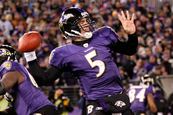 BALTIMORE, MD - DECEMBER 05:  Quarterback Joe Flacco #5 of the Baltimore Ravens looks to pass against the Pittsburgh Steelers at M&T Bank Stadium on December 5, 2010 in Baltimore, Maryland. Pittsburgh won 13-10.  (Photo by Geoff Burke/Getty Images)