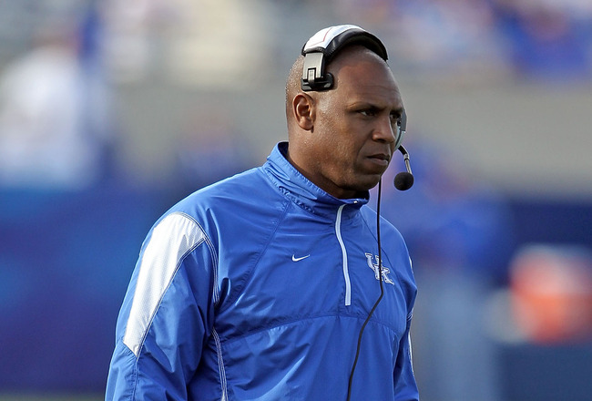 LEXINGTON, KY - NOVEMBER 13: Joker Phillips the Head Coach of the Kentucky Wildcats takes in the action during the game against the Vanderbilt Commodores at Commonwealth Stadium on November 13, 2010 in Lexington, Kentucky. Kentucky won 38-20.  (Photo by A